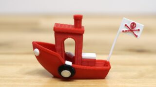 red 3d printed boat with pirate flag